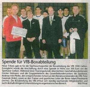 Spende für VfB Boxabteilung